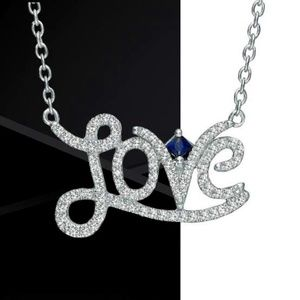 """925 Stirling Silver and jewelled """"Love"""" necklace"""